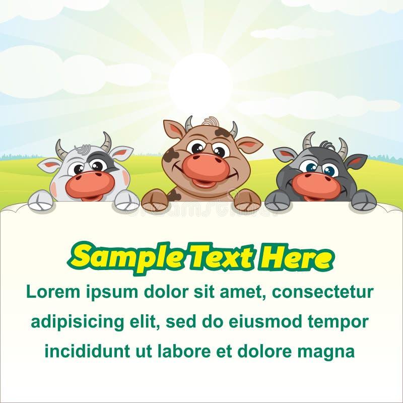 De Grappige Koeien van de Melkveehouderijillustratie met Leeg Teken vector illustratie