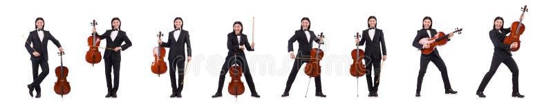 De grappige man met muziekinstrument op wit stock fotografie