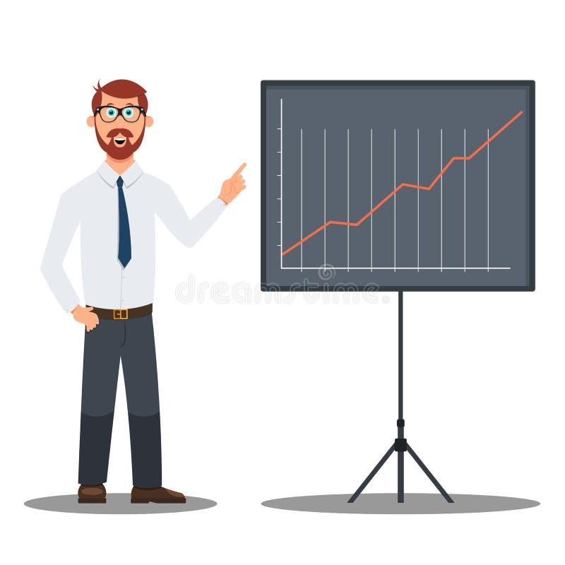 De grappige mannelijke zakenman toont een grafiek royalty-vrije illustratie