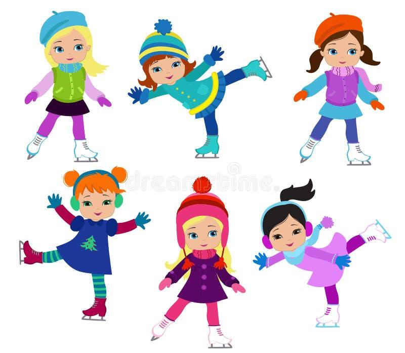 De grappige meisjes in de winter kleedt ijs schaatsen geïsoleerd op witte achtergrond royalty-vrije illustratie