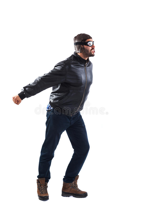De grappige mens kleedde zich als het proef beweren aan start stock fotografie