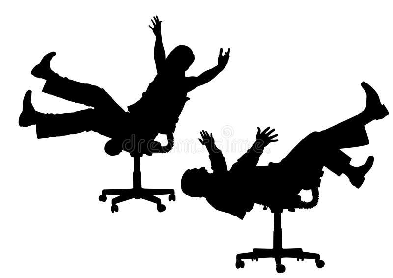 De grappige mensen op stoel silhouetteren vector vector illustratie