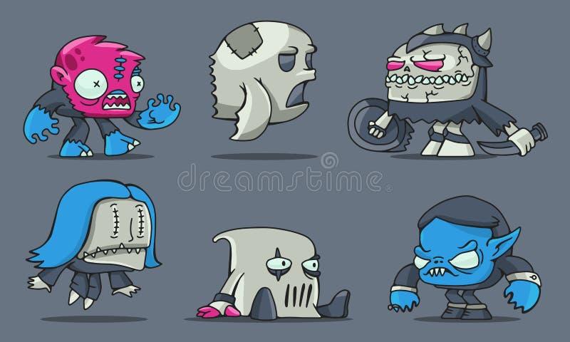 De grappige monsters van het beeldverhaalspel vector illustratie
