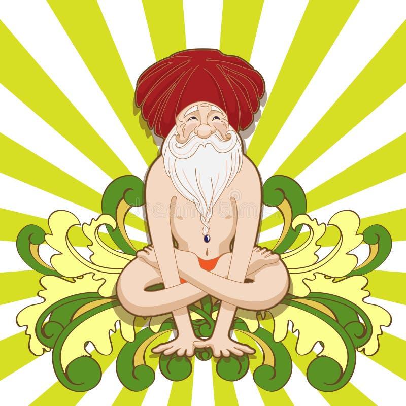 De grappige oma die in een yoga mediteren stelt vector illustratie