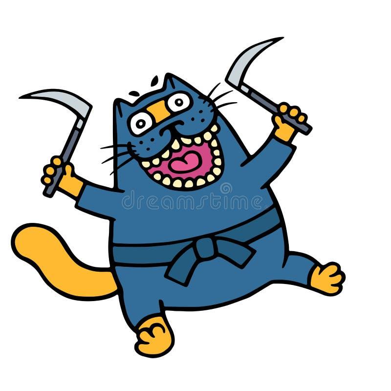 De grappige oranje die kat is een ninja met twee sikkels wordt bewapend Vector illustratie stock illustratie