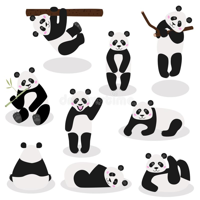 De grappige panda draagt inzameling, vectorillustratie stock illustratie