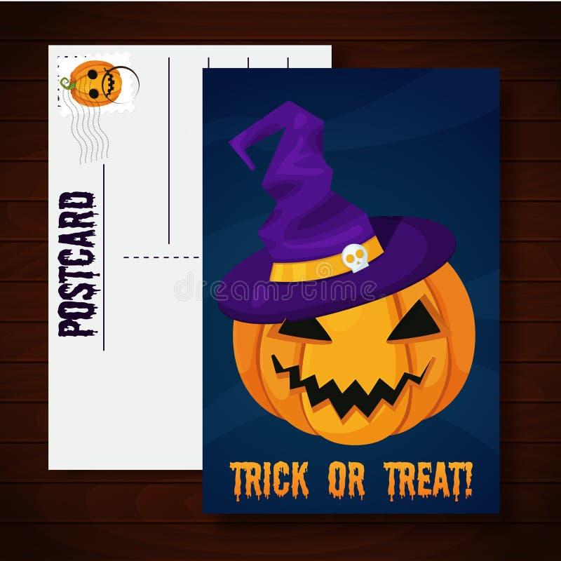 De grappige prentbriefkaar van Halloween vector illustratie