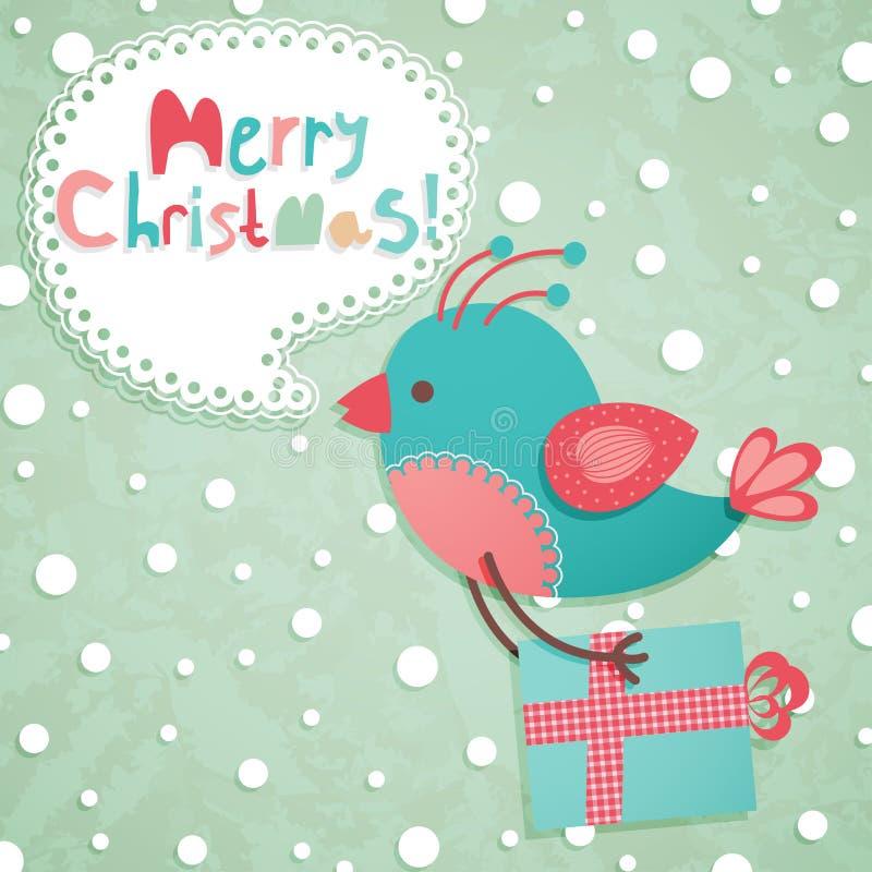 De grappige prentbriefkaar van Kerstmis royalty-vrije illustratie