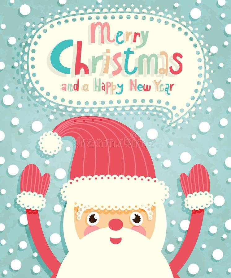 De grappige prentbriefkaar van Kerstmis met de Kerstman. stock illustratie