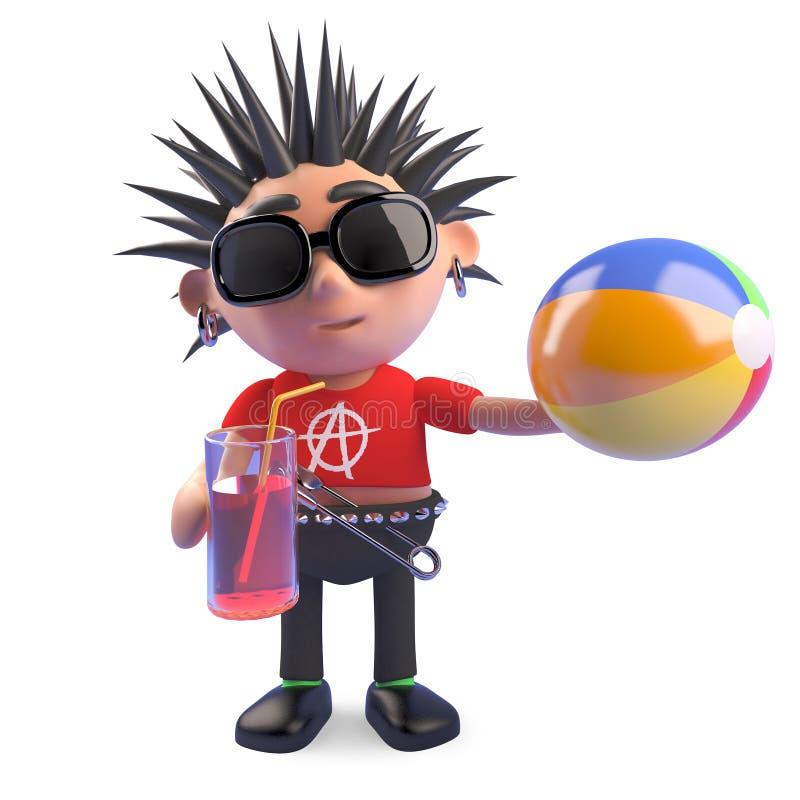 De grappige punker is op vakantie met zijn strandbal en drank, 3d illustratie royalty-vrije illustratie