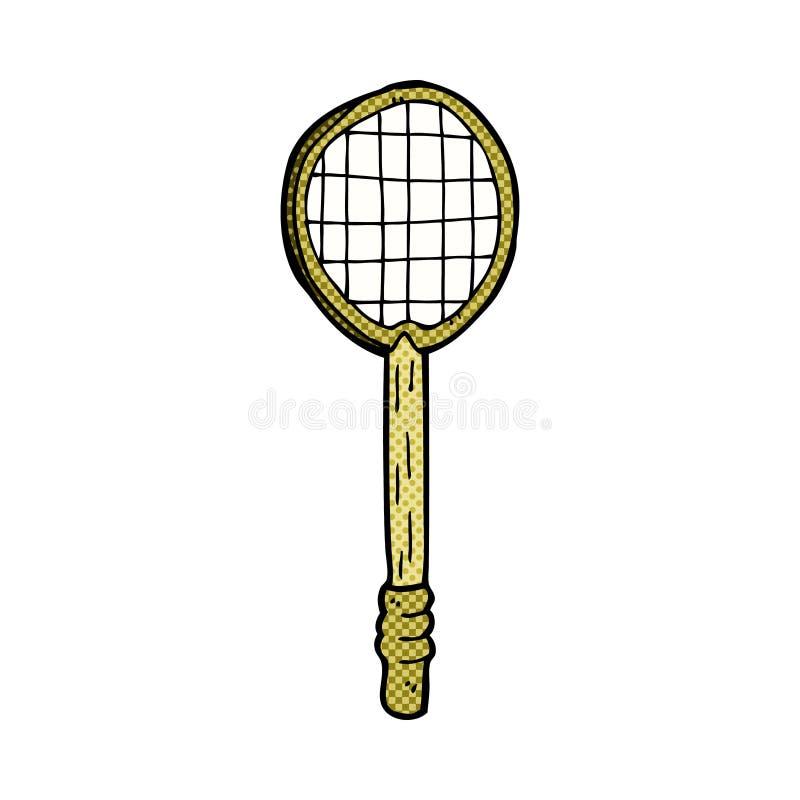 de grappige racket van het beeldverhaal oude tennis vector illustratie
