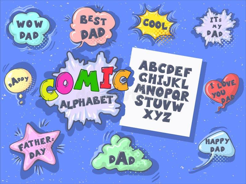 De grappige reeks van de beeldverhaal retro doopvont De toespraakbellen van de vaders dag Alfabetbrieven in stijl van strippagina stock illustratie