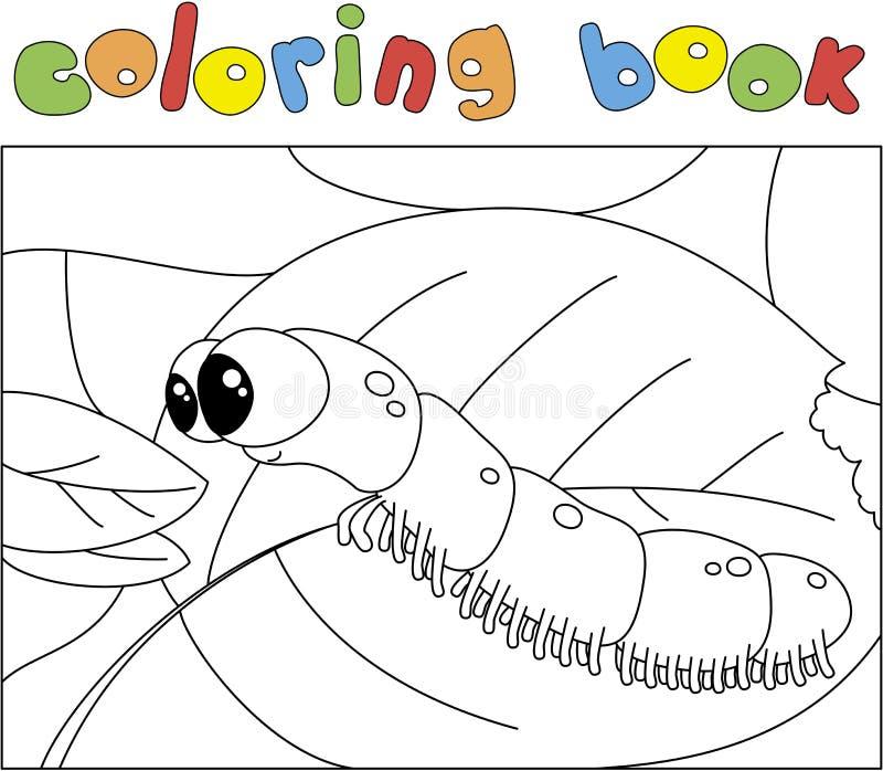 De grappige rupsband wil een vers blad eten vector illustratie