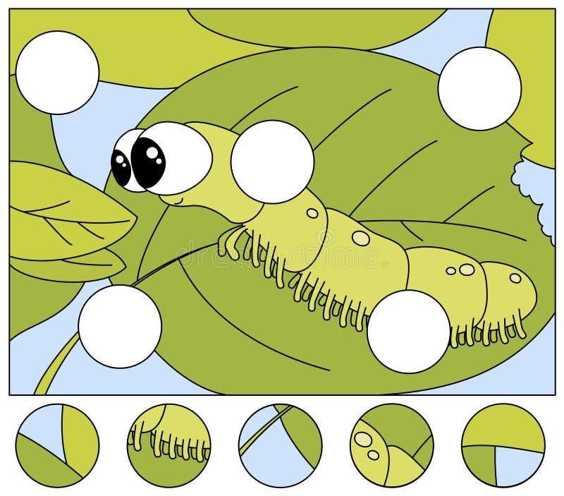 De grappige rupsband wil een vers blad eten voltooi het raadsel en vind de ontbrekende delen van het beeld Spel voor jonge geitje vector illustratie