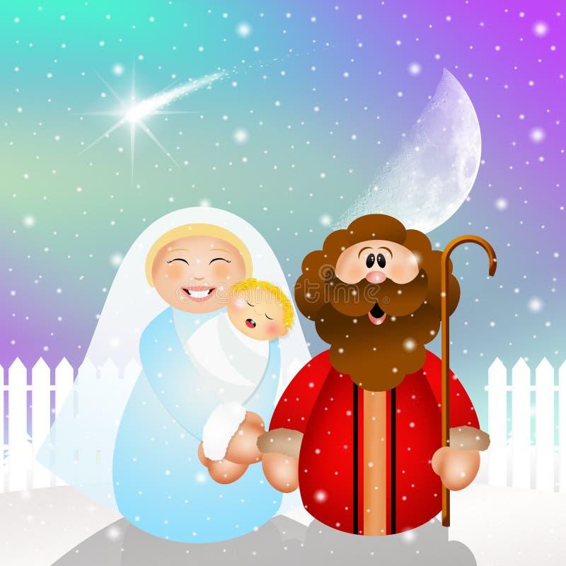 De grappige scène van de Kerstmisgeboorte van christus royalty-vrije illustratie
