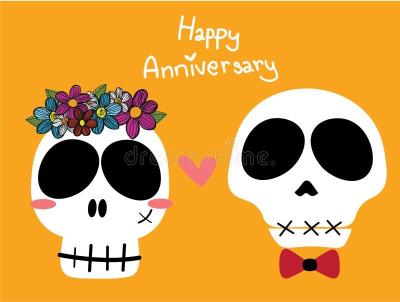 De grappige schedelsbruid en de bruidegom of de vrouw met bloem bekronen en man met rood booglint op gele achtergrond royalty-vrije illustratie