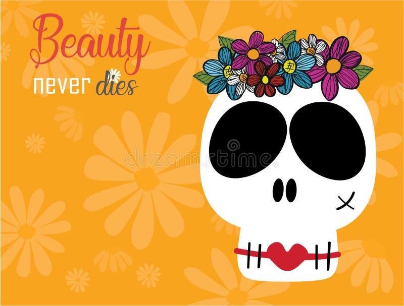 De grappige schedelsdame in bloem omhult kroon met rode lippen op gele achtergrond, sterft de schoonheid nooit concept stock illustratie