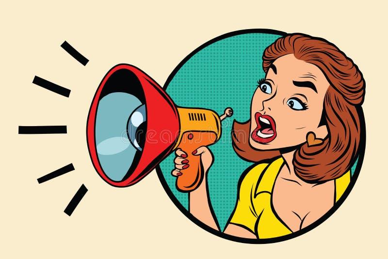 De grappige schreeuwen van het vrouwenmengapparaat in een megafoon royalty-vrije illustratie