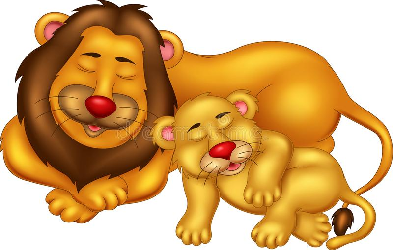 De grappige slaap van het leeuwbeeldverhaal met het glimlachen en geniet van vector illustratie