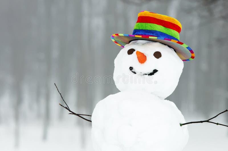 De grappige sneeuwman van de winter stock fotografie