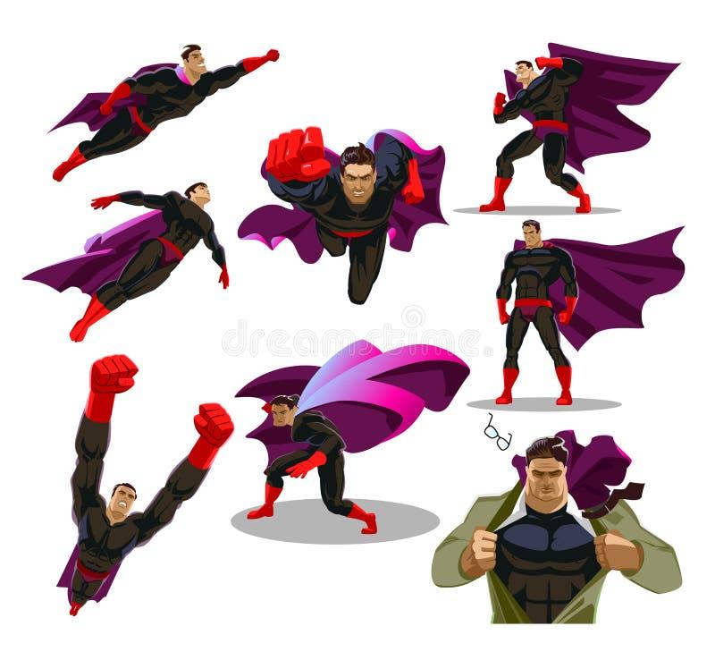 De grappige superheroacties in verschillend stelt De mannelijke super karakters van het helden vectorbeeldverhaal vector illustratie