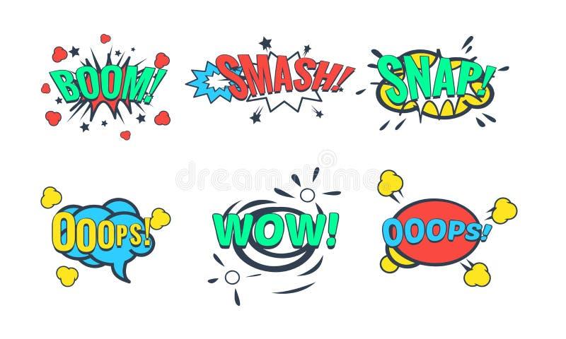 De grappige Toespraakbel met Tekstreeks, Grappige Geluidseffecten, wauw, Boom, Breuk, breekt Vectorillustratie stock illustratie