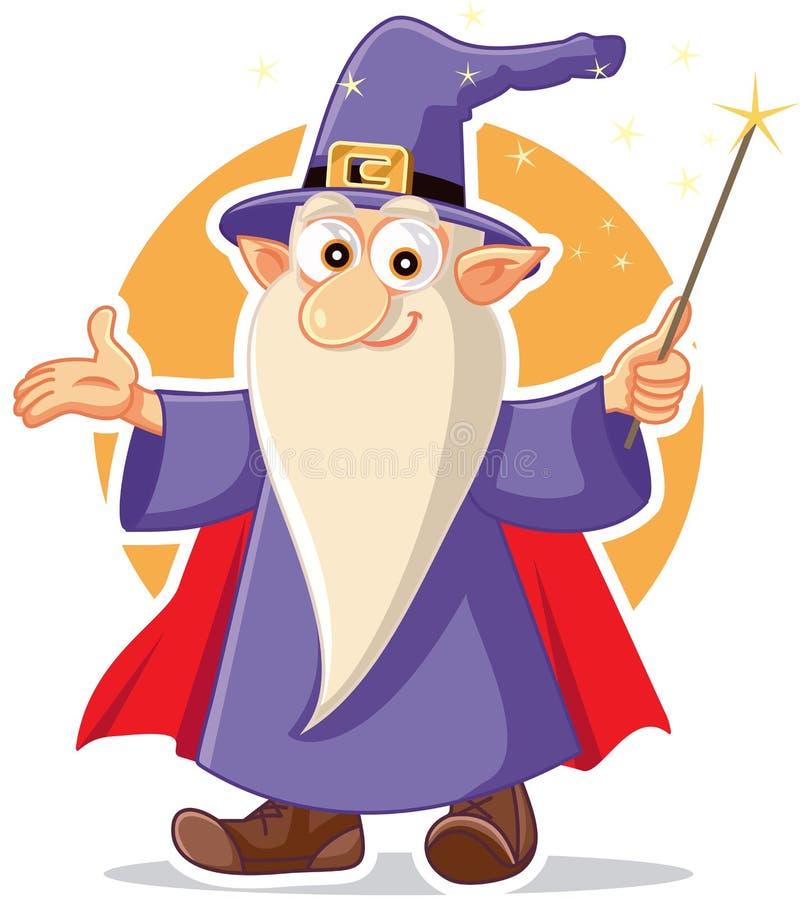 De grappige Tovenaar Character van de Beeldverhaaltovenaar royalty-vrije illustratie