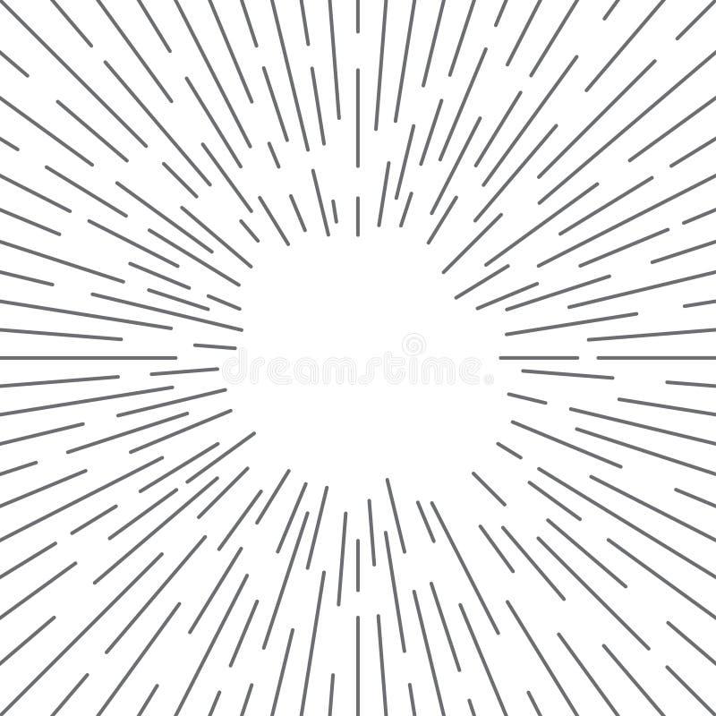 De grappige van boeklijnen Stralen als achtergrond van de stijl Manga van zon Uitstekende Hipster verzenden de actieexplosie van  stock illustratie