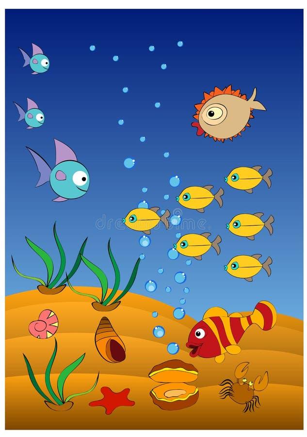 De grappige van de clownvissen en egel vissen zwemmen stock illustratie