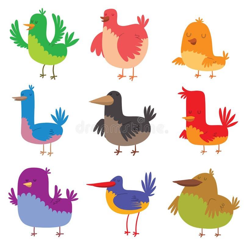 De grappige van de het beeldverhaalinzameling van de vogelskrabbel van het de vleugel dierlijke karakter vectorillustratie royalty-vrije illustratie