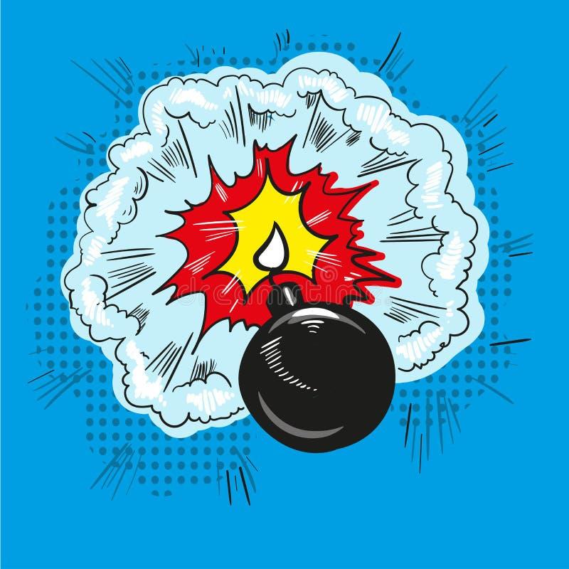 De grappige van de het pop-art retro stijl van de bomexplosie halftone illustratie stock illustratie
