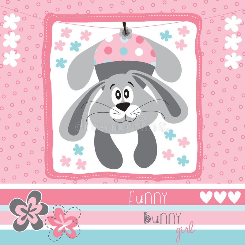 De grappige vector van het konijntjesmeisje stock illustratie