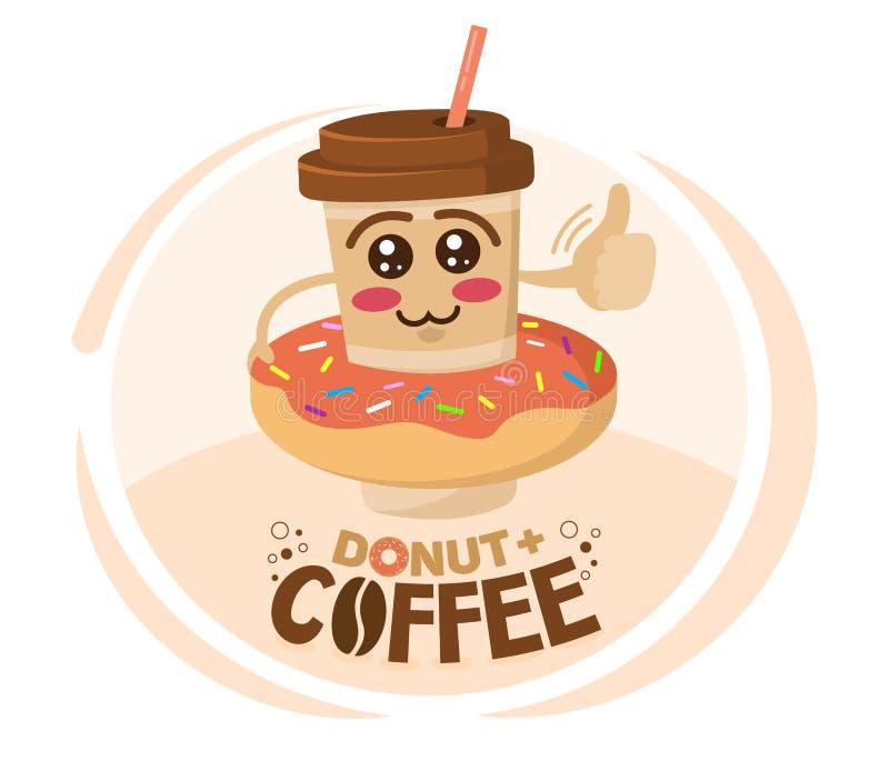 De grappige vectorillustratie van de koffiekop van het beeldverhaalkarakter droeg een doughnut Het concept van de koffiewinkel royalty-vrije illustratie