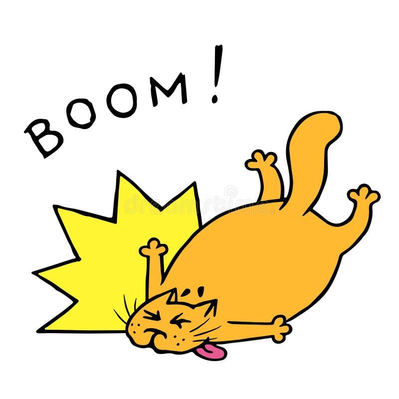 De grappige vette kat viel met een neerstorting Vector illustratie royalty-vrije illustratie