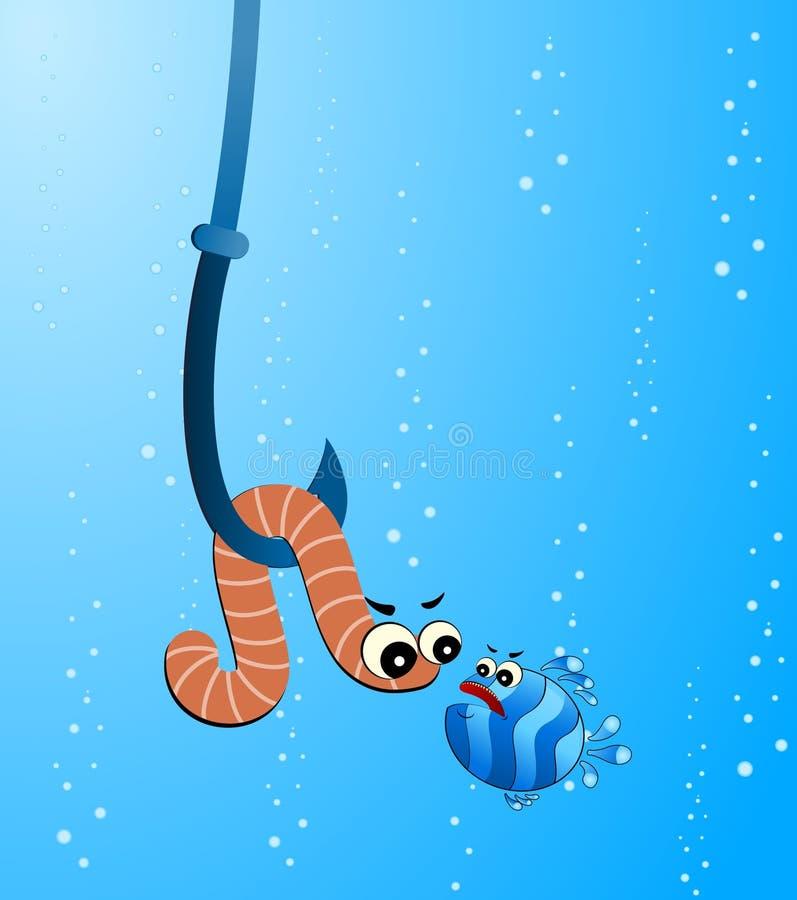 de grappige vis eet een kleine worm stock illustratie