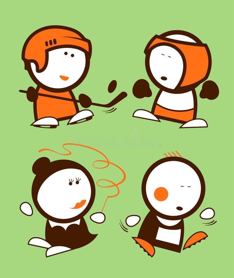 De grappige volkeren van sporten. royalty-vrije illustratie