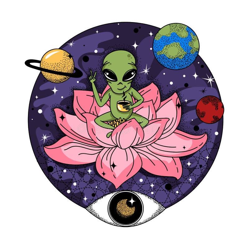 De grappige vreemdeling zit op een roze kruik en drinkt koffie in ruimte royalty-vrije illustratie