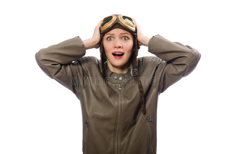 De grappige vrouw proef geïsoleerd op wit stock foto's