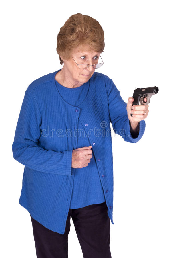 De grappige Vrouw van de Oma van James Bond Rijpe Hogere, Kanon royalty-vrije stock afbeelding