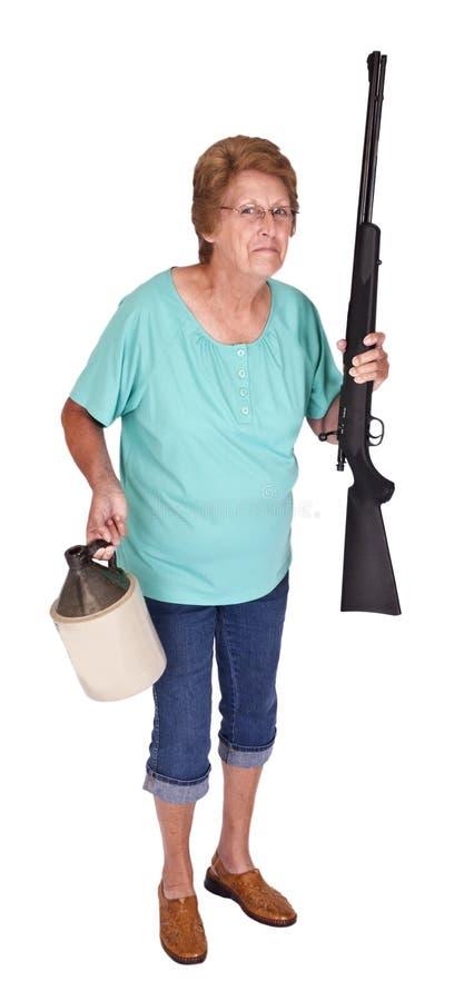 De grappige Vrouw van Redneck van het Afval van het Park van de Aanhangwagen van het Humeur stock foto