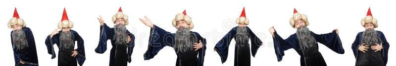 De grappige wijze die tovenaar op het wit wordt geïsoleerd royalty-vrije stock afbeeldingen
