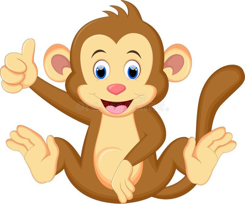 De grappige zitting van het aapbeeldverhaal royalty-vrije illustratie