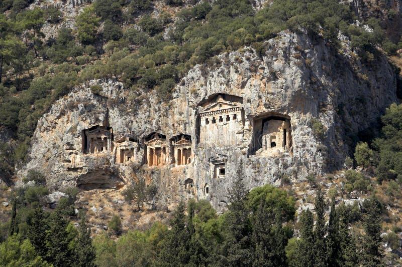 De Graven van Dalyan, Turkije royalty-vrije stock fotografie