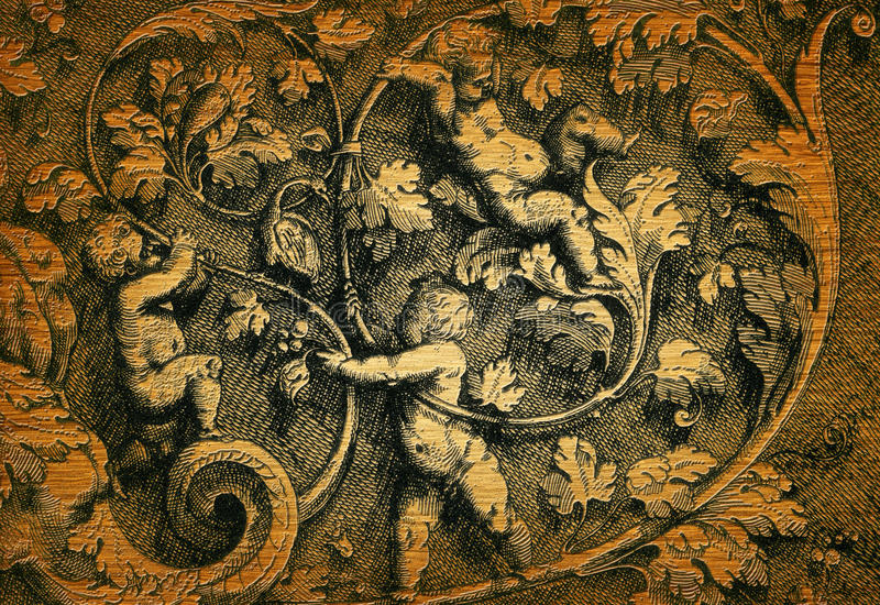 De gravure van de renaissance stock foto