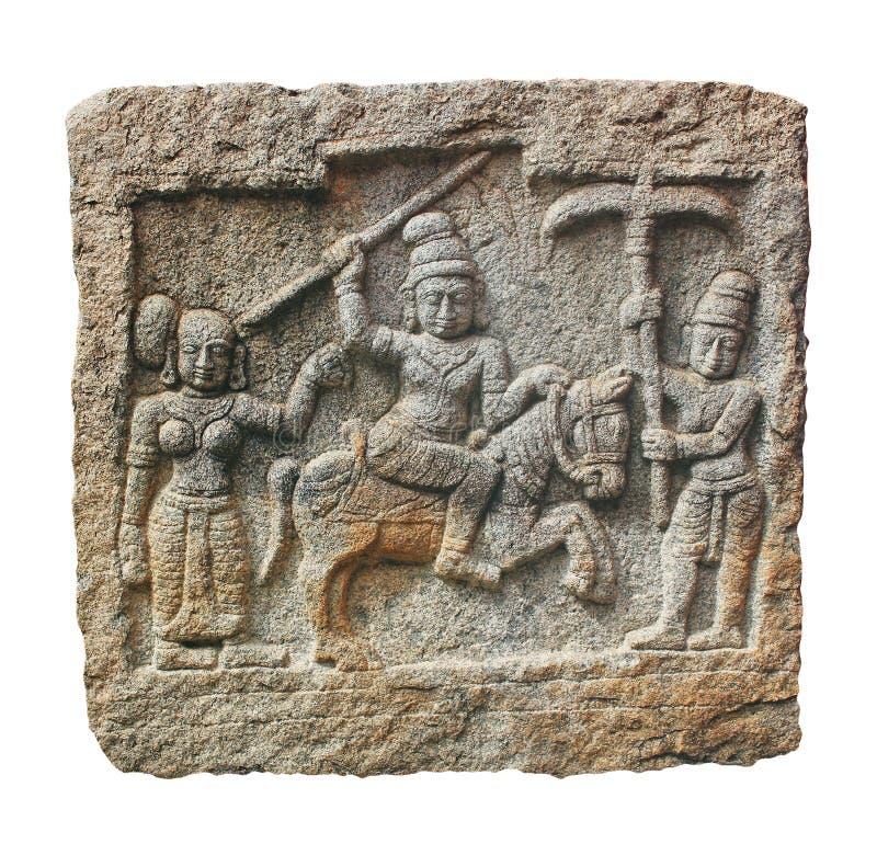 De gravure van de steen van Hindoese goden op een granietrots royalty-vrije stock afbeelding