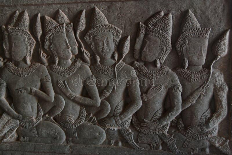 De Gravure van de Steen van Wat van Angkor stock fotografie