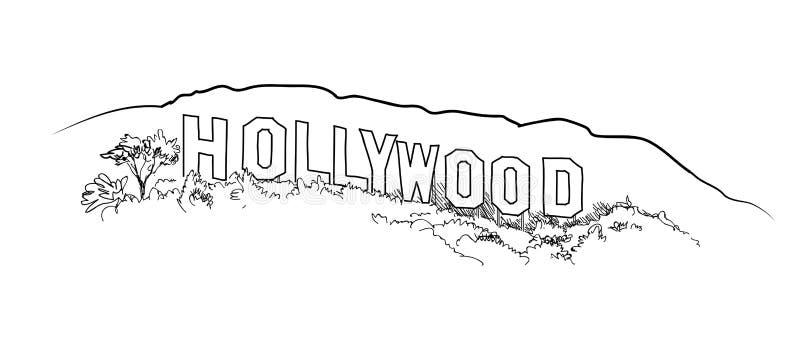 De gravure van het Hollywoodteken Het landschapsmening van de Hollywoodheuvel royalty-vrije illustratie