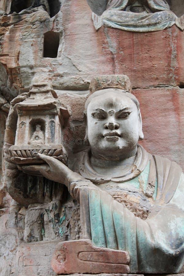 De Gravures van de Rots van de Berg van Bao Ding van Dazu stock afbeeldingen