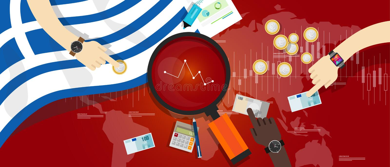 De Grecia de la economía defecto de deuda de la crisis financiera abajo stock de ilustración