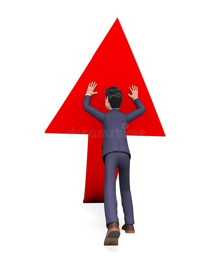 De Greep van zakenmanpushing arrow-up means Biz en Geduwd royalty-vrije illustratie